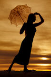 Silhouette woman umbrella step forward Royalty Free Stock Photography