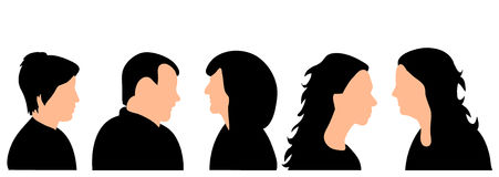 Silhouette of a woman. Vector isolated silhouette portrait, collection, male and female Royalty Free Stock Image