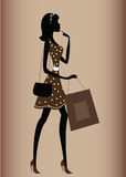 Silhouette of a woman, vintage style Stock Photography