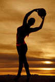 Silhouette woman volleyball arch to right Royalty Free Stock Photography