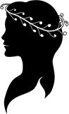 Silhouette of a woman in a wreath. Silhouette of young woman's profile in a white wreath Royalty Free Stock Photos