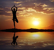 Silhouette of a woman Yoga in the evening. Stock Photography