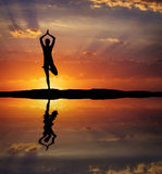 Silhouette of a woman Yoga in the evening. Woman doing Yoga at s Stock Photography