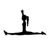 Silhouette with woman yoga splits Stock Image
