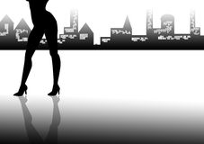 Silhouette of womans legs Stock Photos