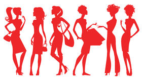 Silhouette of women. Illustration of silhouette group women Royalty Free Stock Photography