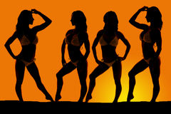 Silhouette of women in bikinis in an orange sunset standing Stock Photography