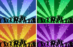 Silhouette of women dancing Royalty Free Stock Photo