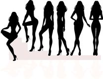 Silhouette of women in dresses Royalty Free Stock Image