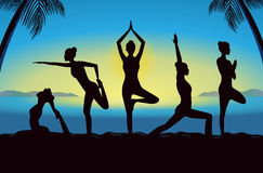Silhouette of women group posing different yoga posture Royalty Free Stock Image