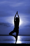 Silhouette of the women meditate. On moon night Stock Photo