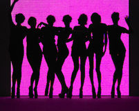 Silhouette of women pink background Royalty Free Stock Photo