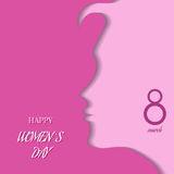 Silhouette of a women on pink background for Happy Women's Day. Stock Photos
