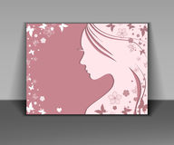 Silhouette of a women on pink background Royalty Free Stock Image
