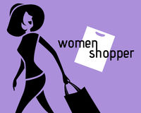 Silhouette, women shoppers. Stock Photo