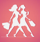 Silhouette of women with shopping bags Royalty Free Stock Images