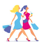Silhouette of women with shopping bags. Silhouette of women on a pink background. Stock Image