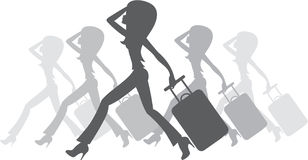 Silhouette of women with a suitcase Stock Photo