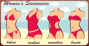 Silhouette womens swimwear Royalty Free Stock Images