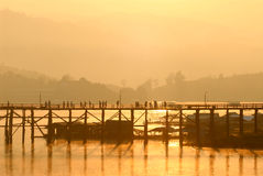 Silhouette of the wooden bridge . Royalty Free Stock Images