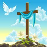Silhouette of wooden cross with shroud, dove and lilies. Happy Easter concept illustration or greeting card. Religious. Symbols of faith against sunrise sky Royalty Free Stock Photo