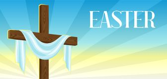 Silhouette of wooden cross with shroud. Happy Easter concept illustration or greeting card. Religious symbol of faith. Against sunrise sky Stock Images