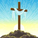 Silhouette of wooden cross with shroud. Happy Easter concept illustration or greeting card. Religious symbol of faith. Against sunrise sky Stock Photography