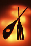 Silhouette of Wooden Utensils Royalty Free Stock Photography