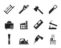 Silhouette Woodworking industry and Woodworking tools icons Royalty Free Stock Photo
