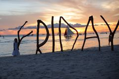 Silhouette word Friday made ??of wood on Boracay Royalty Free Stock Photos
