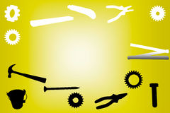 Silhouette of work tools on yellow background Stock Photos