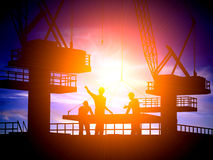 Silhouette of the worker Royalty Free Stock Image