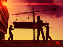 Silhouette of the worker Stock Photos
