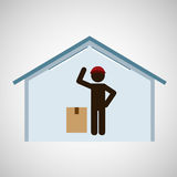 Silhouette worker cardboard box delivery. Vector illustration eps 10 Royalty Free Stock Photography