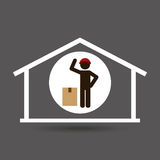 Silhouette worker cardboard box delivery. Vector illustration eps 10 Royalty Free Stock Photos