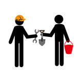 Silhouette worker men with helmet and tools building. Vector illustration Stock Photos