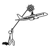 Silhouette worker with pulley holding small figure airplane. Illustration Stock Images