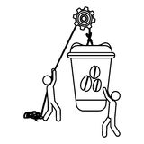 Silhouette workers with pulley holding big disposable for hot drinks with lid Royalty Free Stock Photo