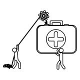 Silhouette workers with pulley holding first aid kit. Illustration Stock Photo