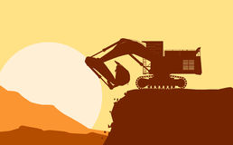 Silhouette of working bulldozer on background Royalty Free Stock Photo