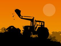 Silhouette of working bulldozer on background Stock Image