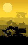 Silhouette of working bulldozer on background Royalty Free Stock Photos