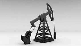 Silhouette of working oil pump on white background Stock Image