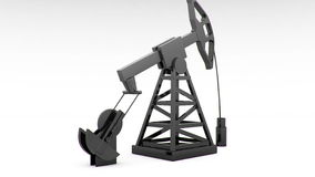 Silhouette of working oil pump on white background stock footage