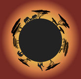 Silhouette of world with animals Stock Photo