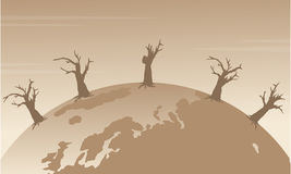 Silhouette of world with forest on fire. Vector illustration Royalty Free Stock Image