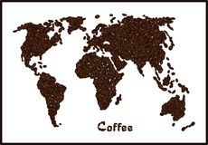 Silhouette of world map made from coffee beans with highlighted Brazil. Coffee lettering. Royalty Free Stock Image