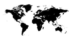 Silhouette world map. stock illustration