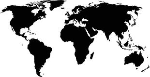Silhouette of a world map. Black shapes on white background Stock Images