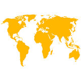 Silhouette World Map. Vector illustration Royalty Free Stock Photography